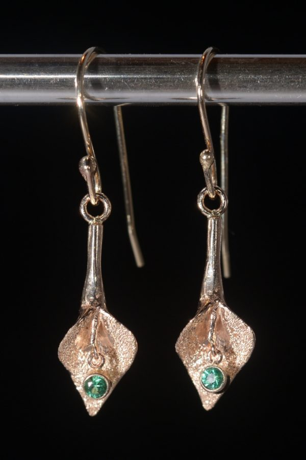 Small Gold Calla Lily Earring with Emerald